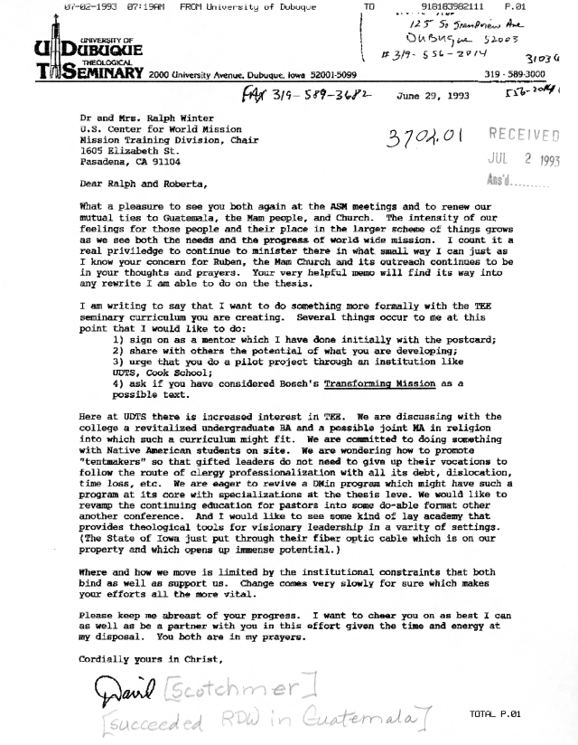 David Scotchmer Letter