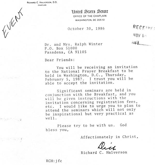 U.S. Senate Chaplain's Letter