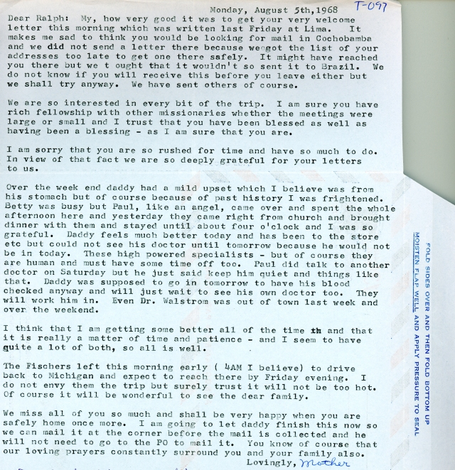 Hazel Winter to RDW Letter 8 5 1968