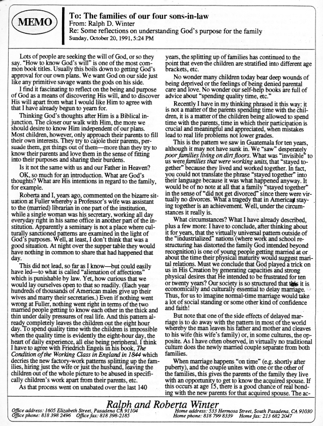 Letter From RDW re Marriage & Family p1