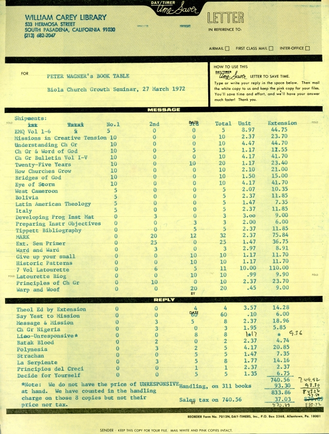 List of Books for Church Growth Seminar 3 27 1972