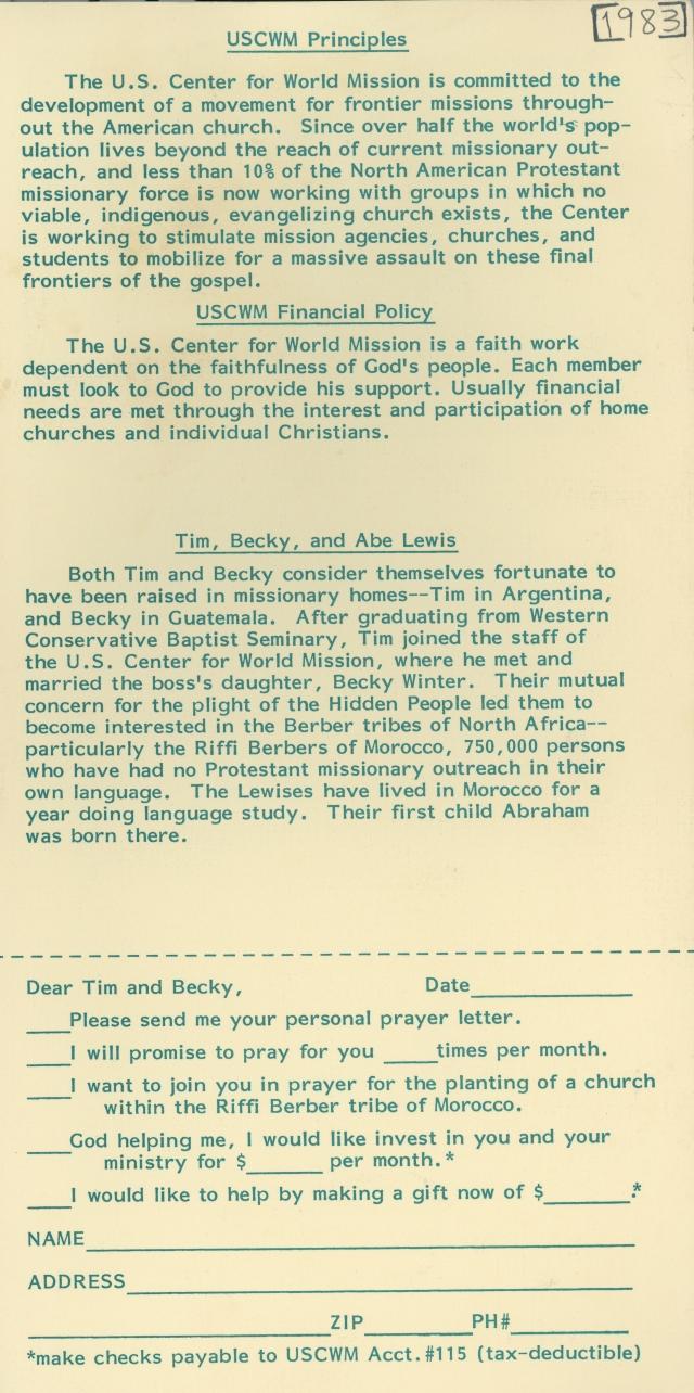 Lewis Prayer Card 1983 p1