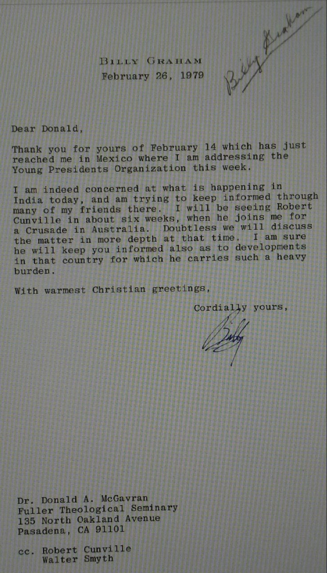 Billy Graham to McGavran Letter