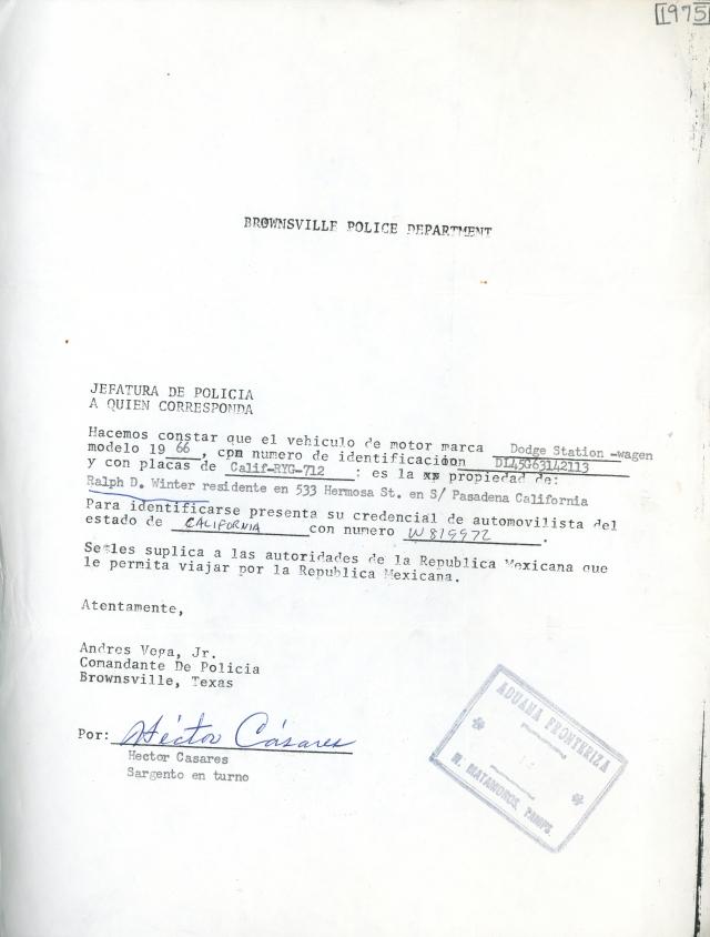 Mexico Vehicle Permit 1975