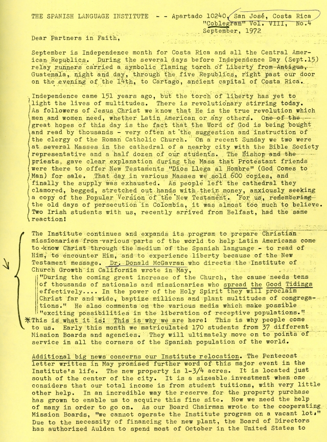 Spanish Lang. Inst. Letter Sep 1972 p1