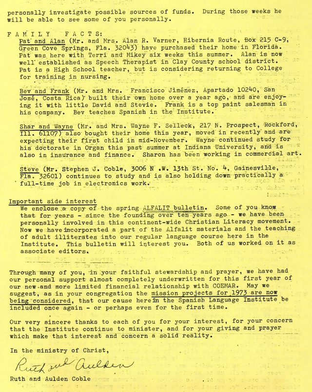 Spanish Lang. Inst. Letter Sep 1972 p2