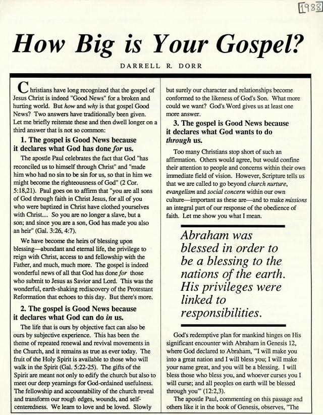 Darrell Dorr's Article 1988 p1