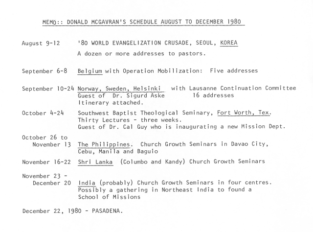 McGavran Travel Itinerary Fall 1980