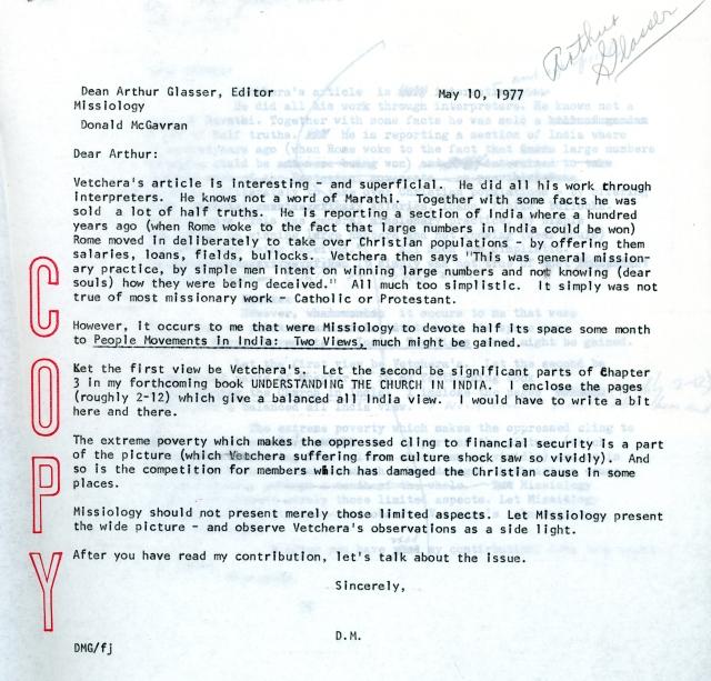 McGavran to Glasser Letter 5 10 1977