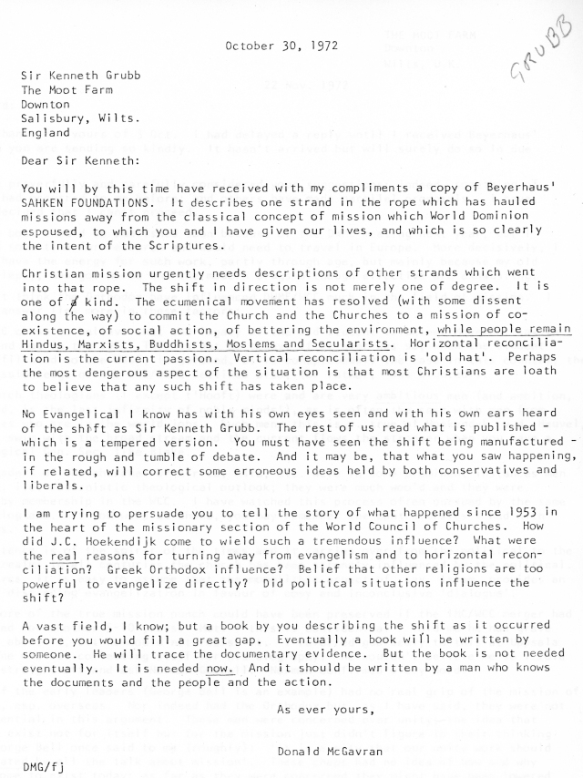 McGavran to Sir Kenneth Grubb Letter 10 30 1972