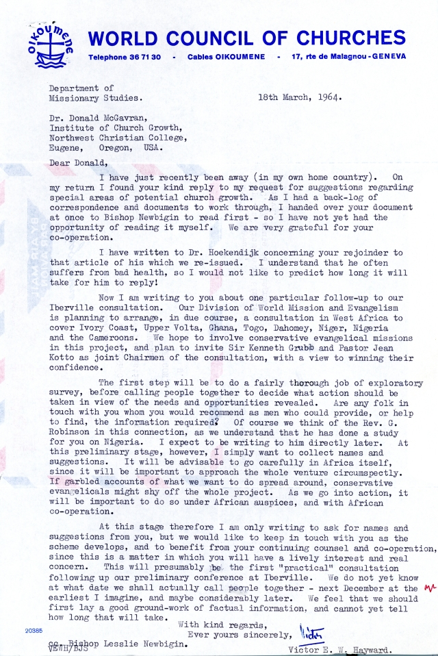 Victor Hayward to McG Letter 3 18 1964 p1