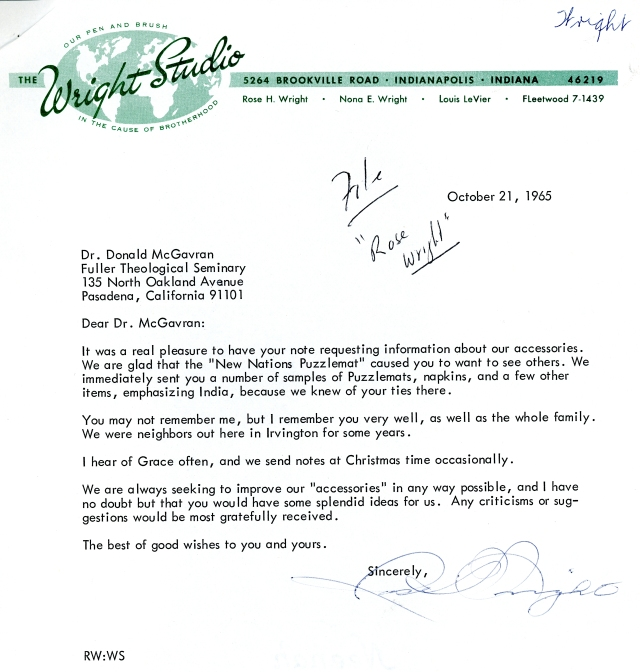 Rose Wright to McG Letter 10 21 1965