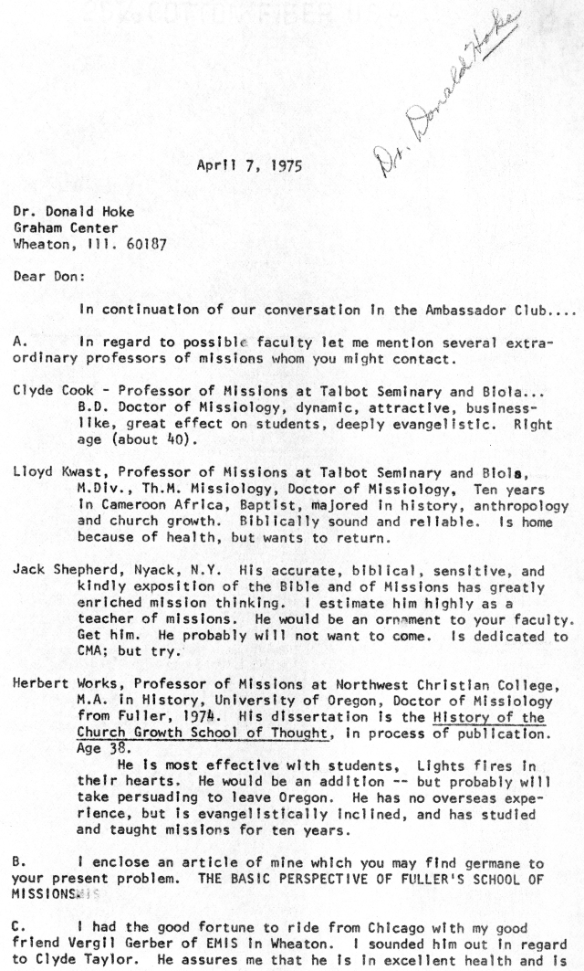 mcgavran to donald hoke letter 4 7 1975 p1