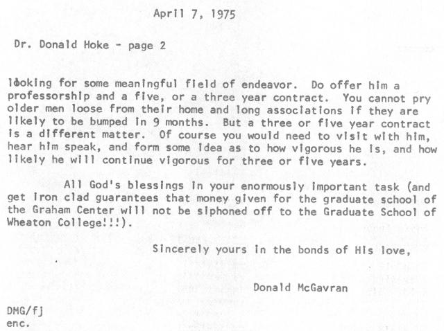 mcgavran to donald hoke letter 4 7 1975 p2