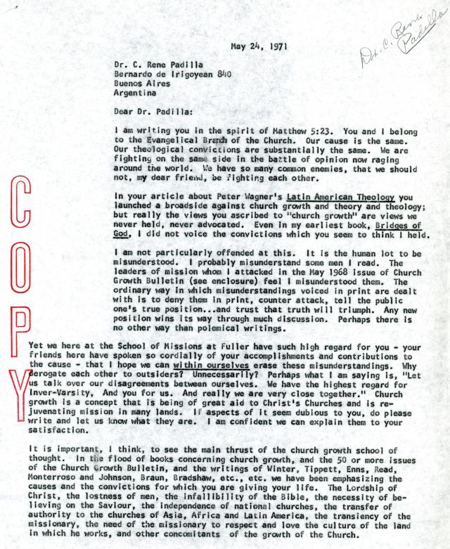 mcgavran to rene padilla letter 5 24 1971 p1