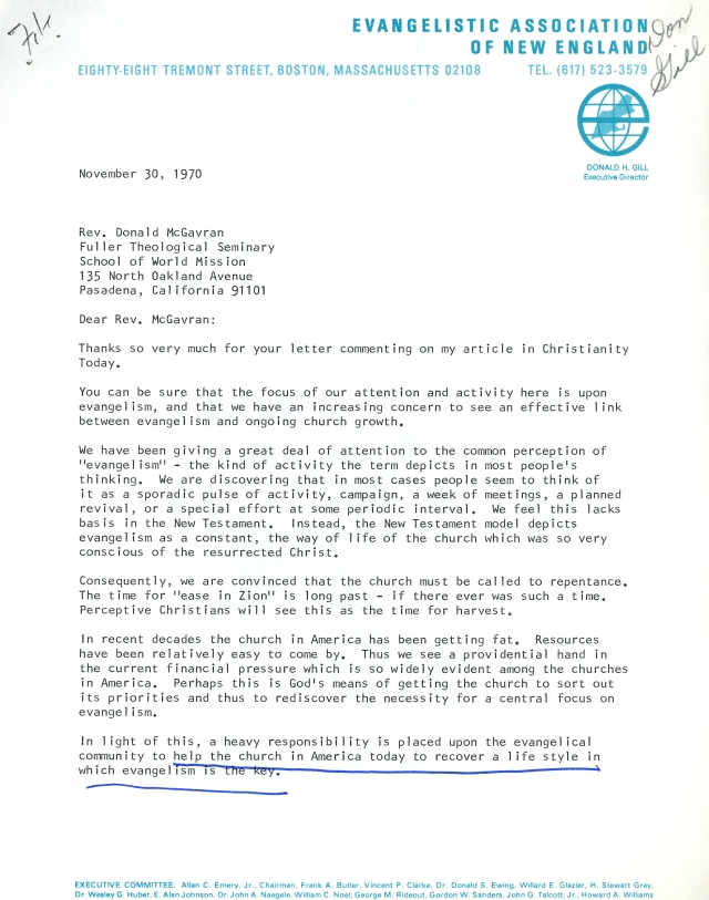Donald Gill to McG Letter 11 30 1970 p1