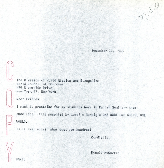 McG to WCC Letter 12 27 1965