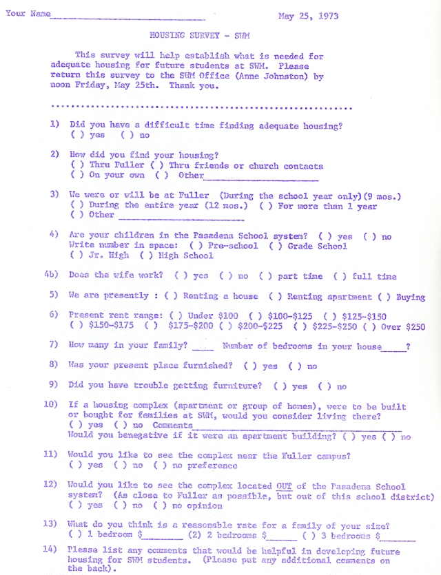 Student Housing Survey 1973