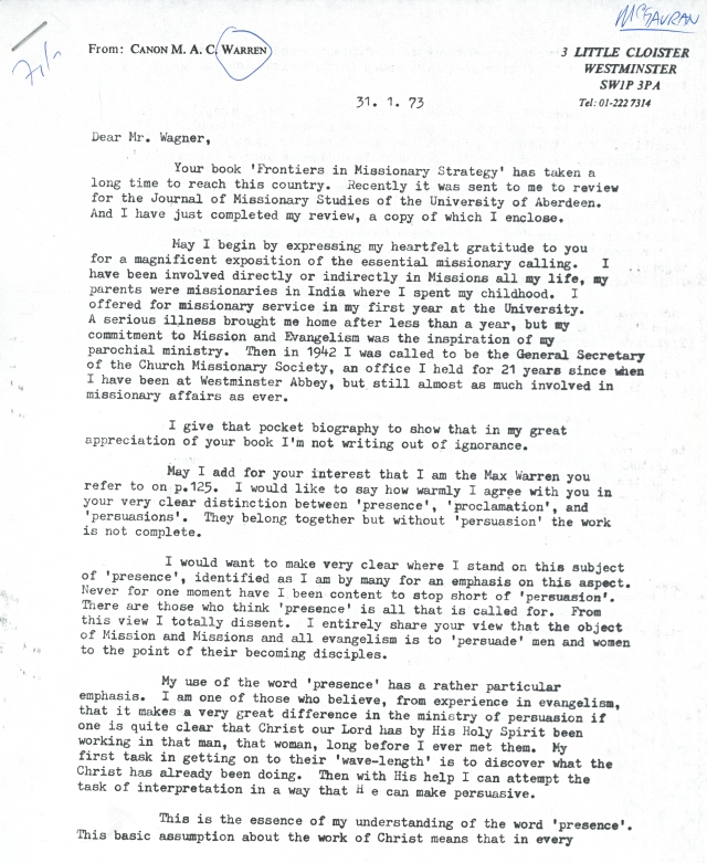 Canon Max Warren to Peter Wagner Letter 1 31 1973 p1