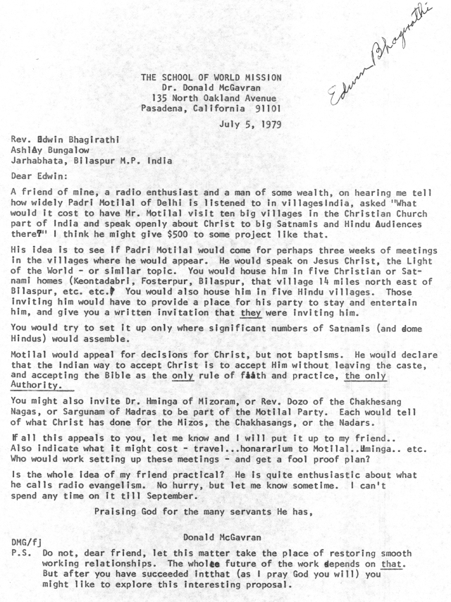 McG to Edwin Bhagirathi Letter 7 5 1979