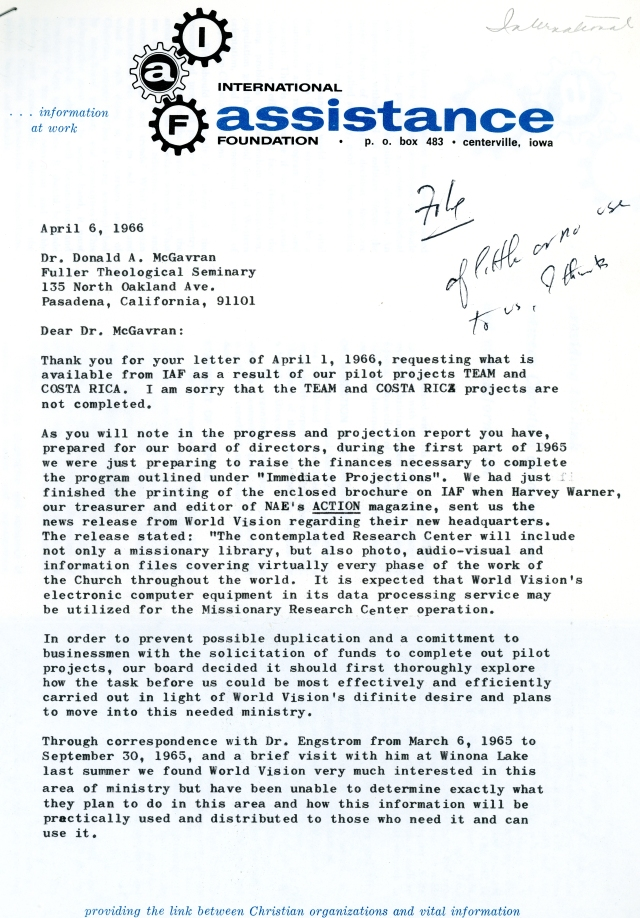Marvin Bowers to McG Letter 4 6 1966 p1
