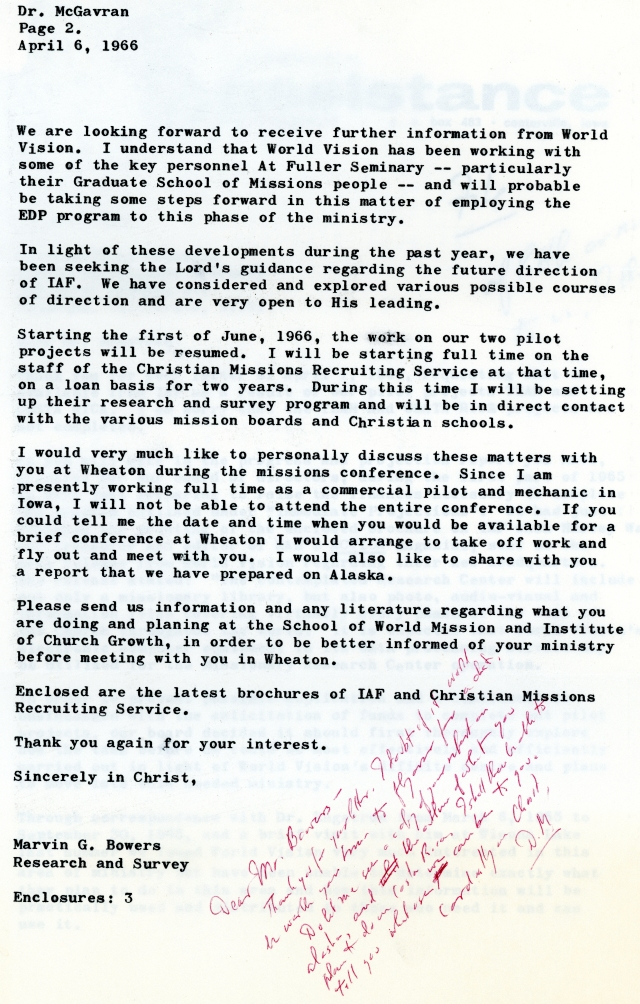 Marvin Bowers to McG Letter 4 6 1966 p2