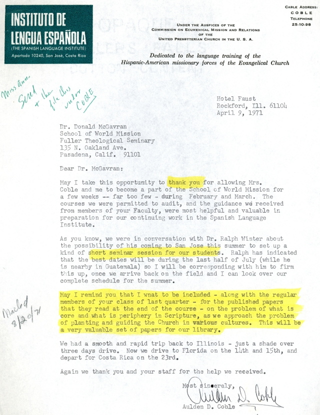 Aulden Coble to McG Letter 4 9 1971