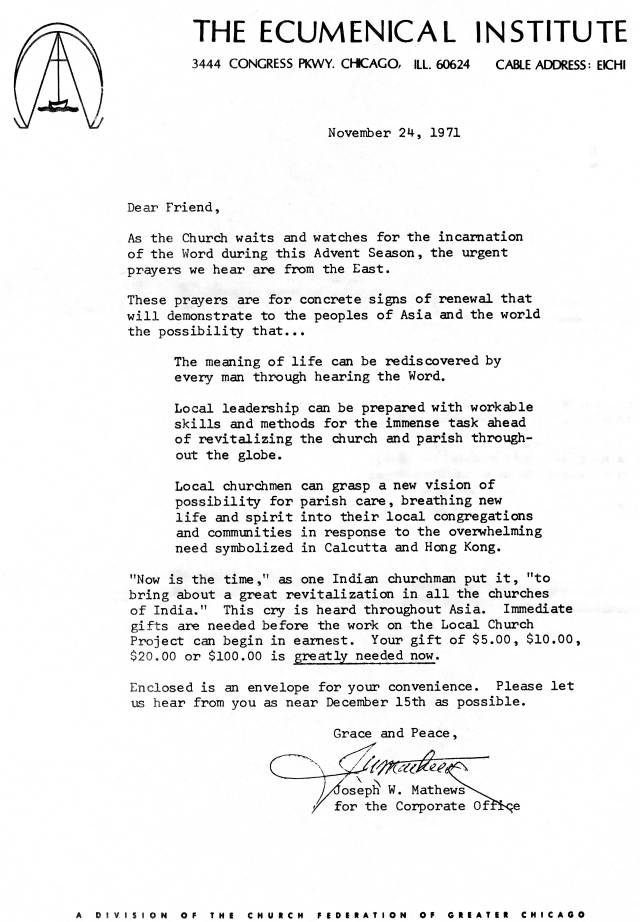 Ecumenical Institute Fundraising Letter 11 24 1971