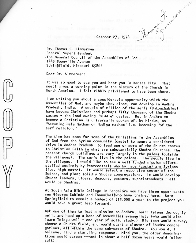 McG to Thomas Zimmerman Letter 10 27 1976 p1