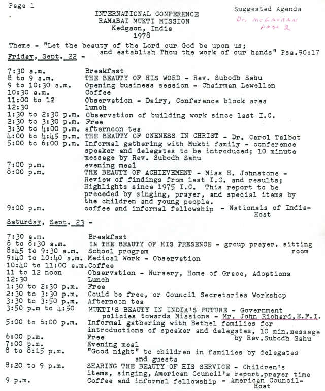 Ramabai Mukti Mission Conference Schedule September 1978 p1
