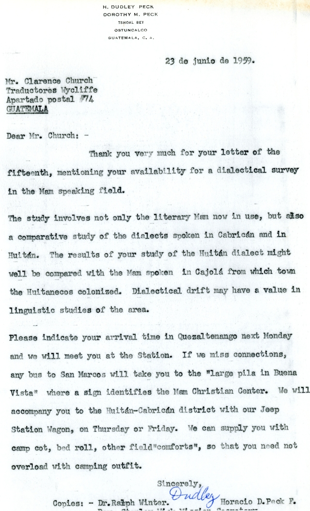 Dudley Peck to Clarence Church Letter 6 23 1959