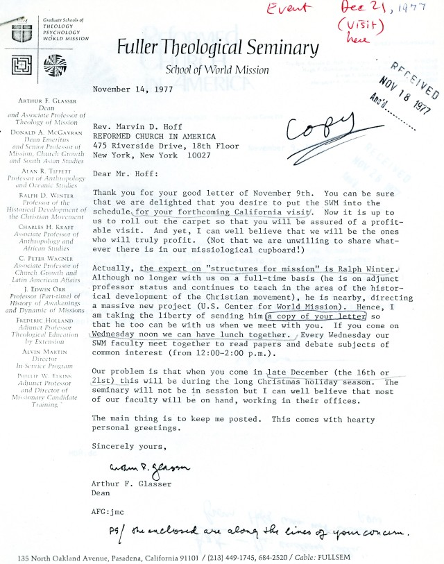 Arthur Glasser to Marvin Hoff Letter 11 14 1977
