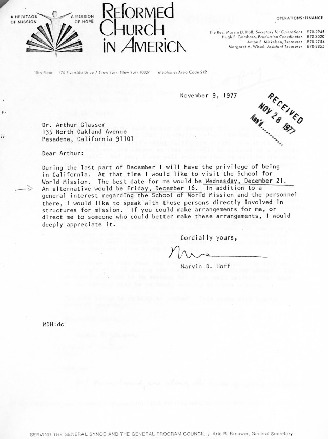 Marvin Hoff to Arthur Glasser Letter 11 9 1977