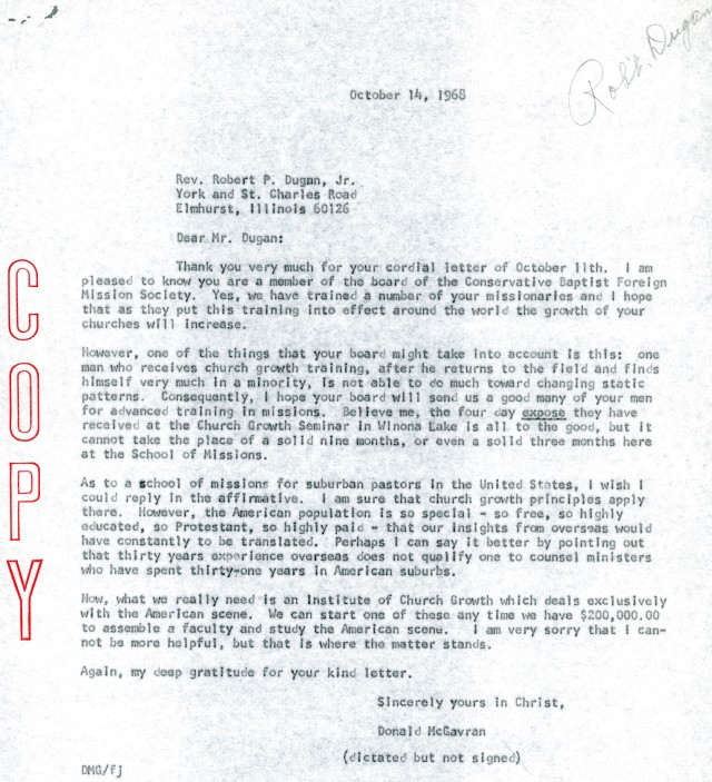 McG to Robert Dugan Letter 10 14 1968