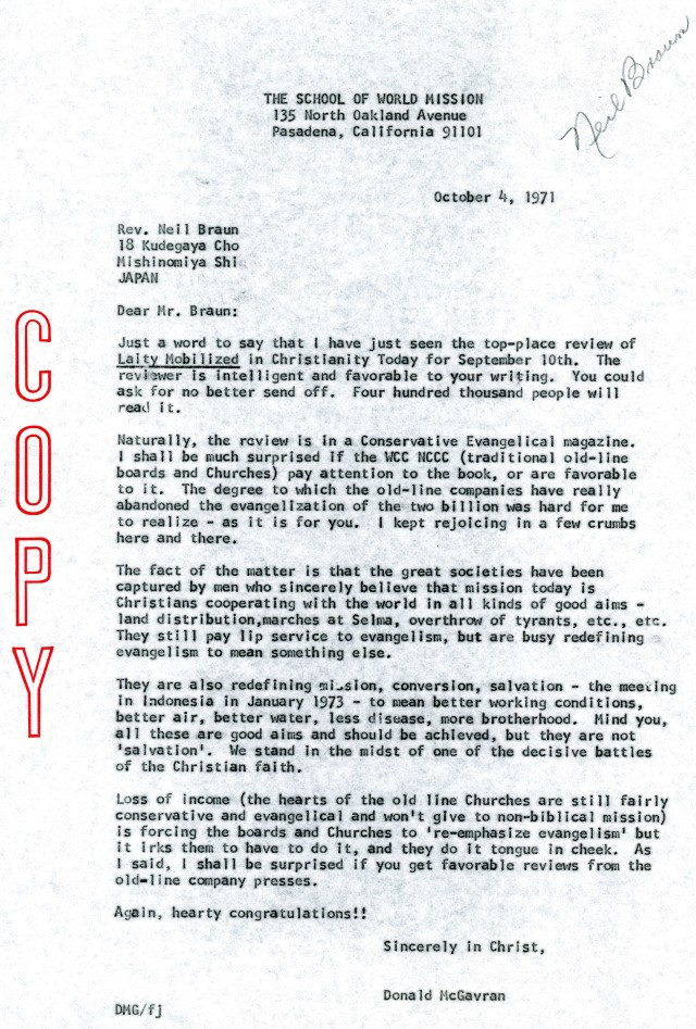 McG to Neil Braun Letter 10 4 1971