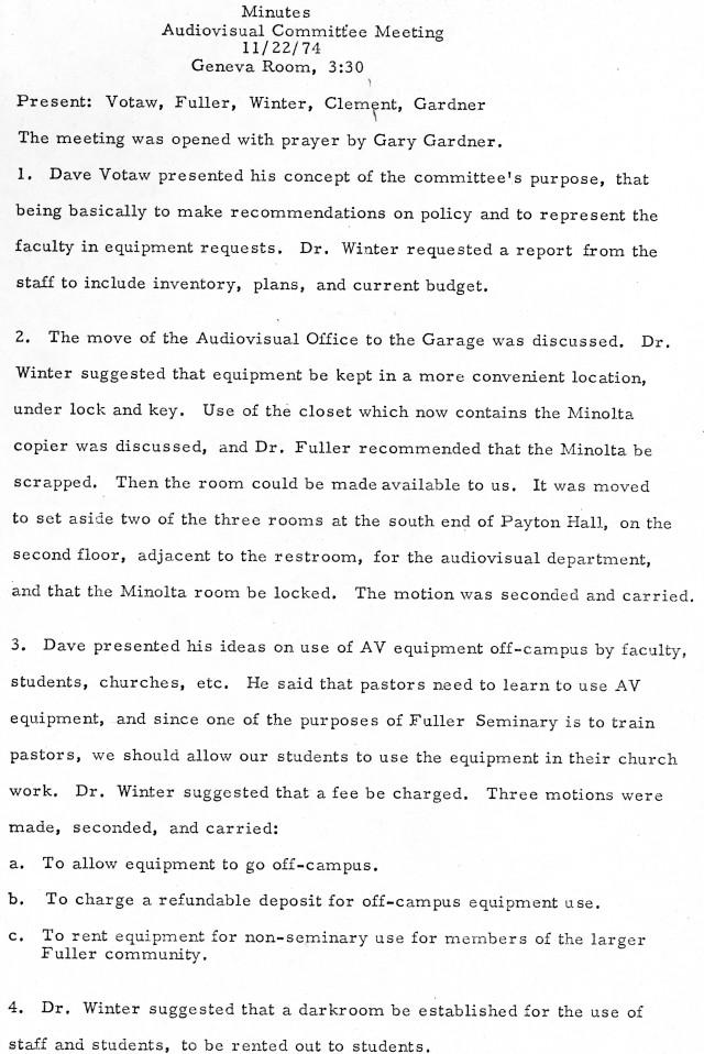AV Committee Minutes 11 22 1974 p1