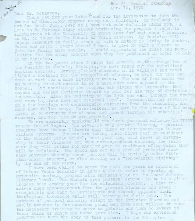 Loren Bliese to McG Letter 4 10 1970 p1