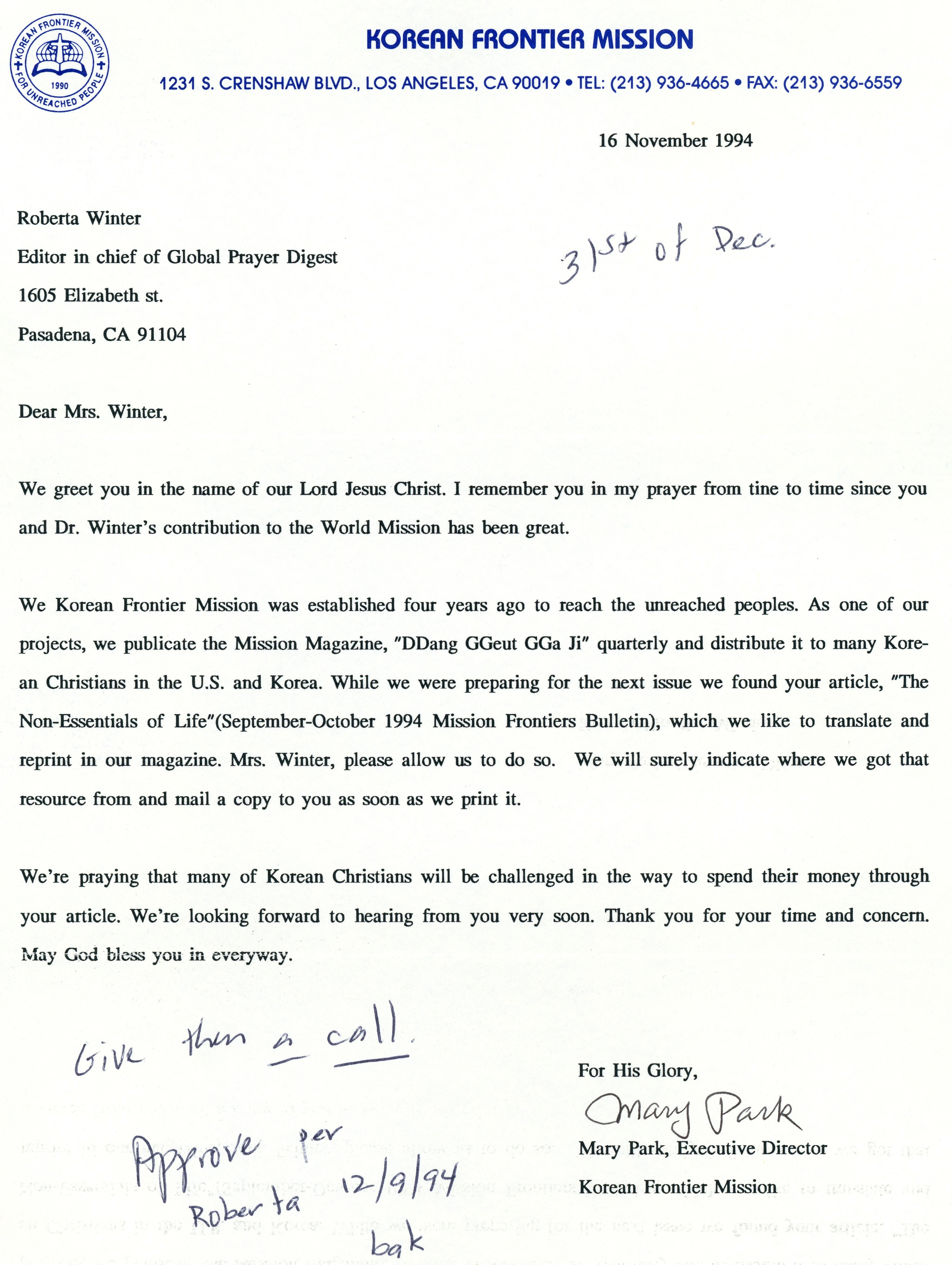 Mary Park to RHW Letter 11 16 1994