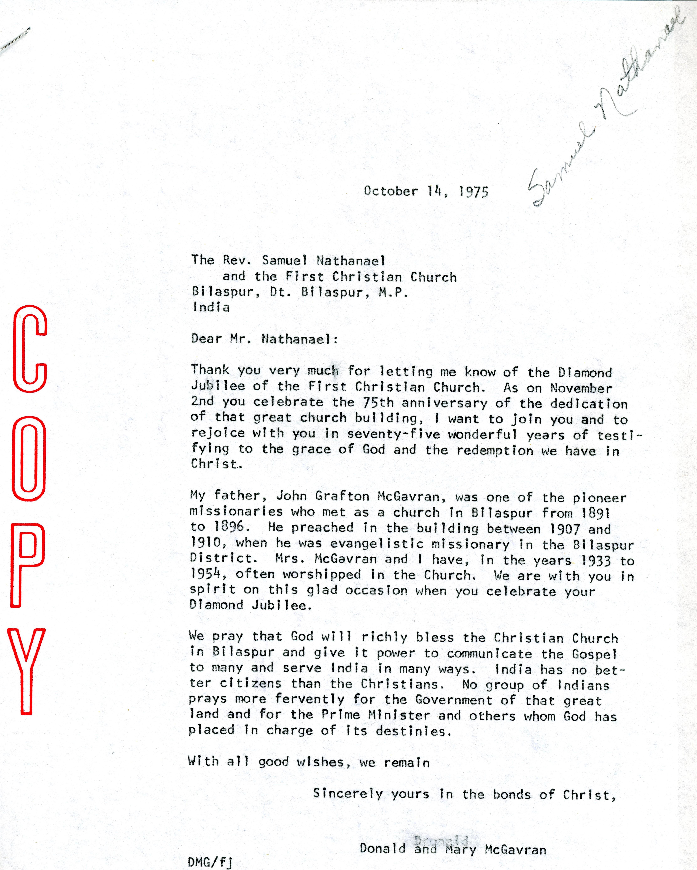 McG to Samuel Nathanael Letter 10 14 1975