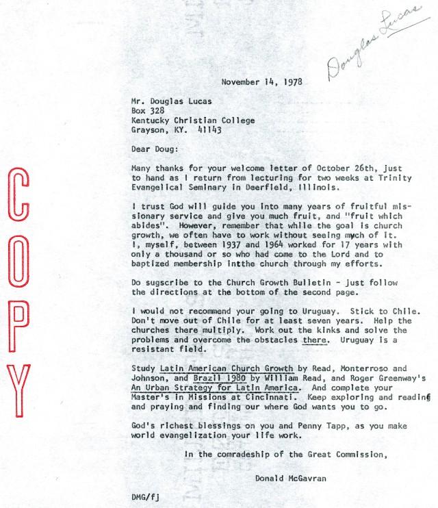 McG to Douglas Lucas Letter 11 14 1978