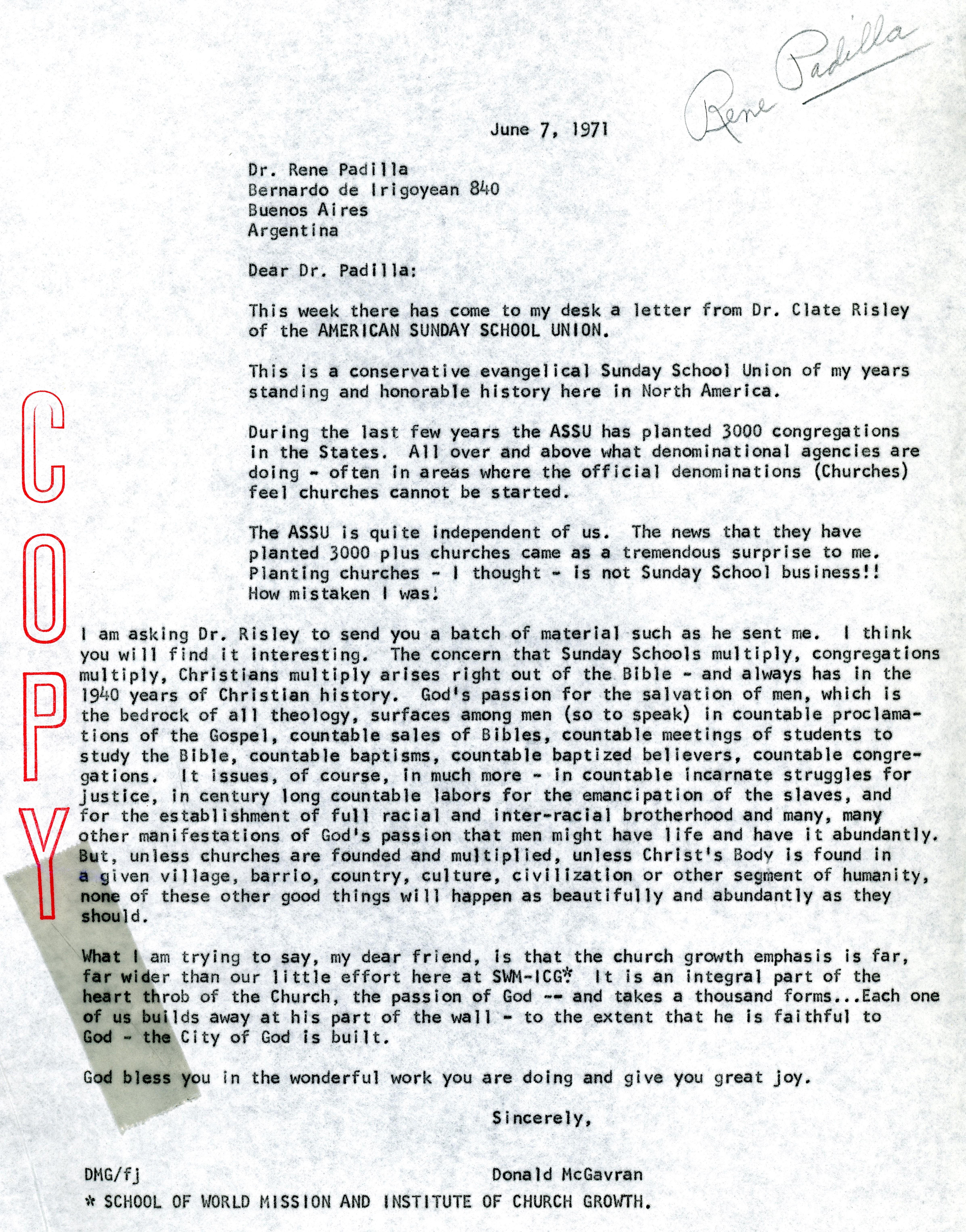 McG to Rene Padilla Letter 6 7 1971
