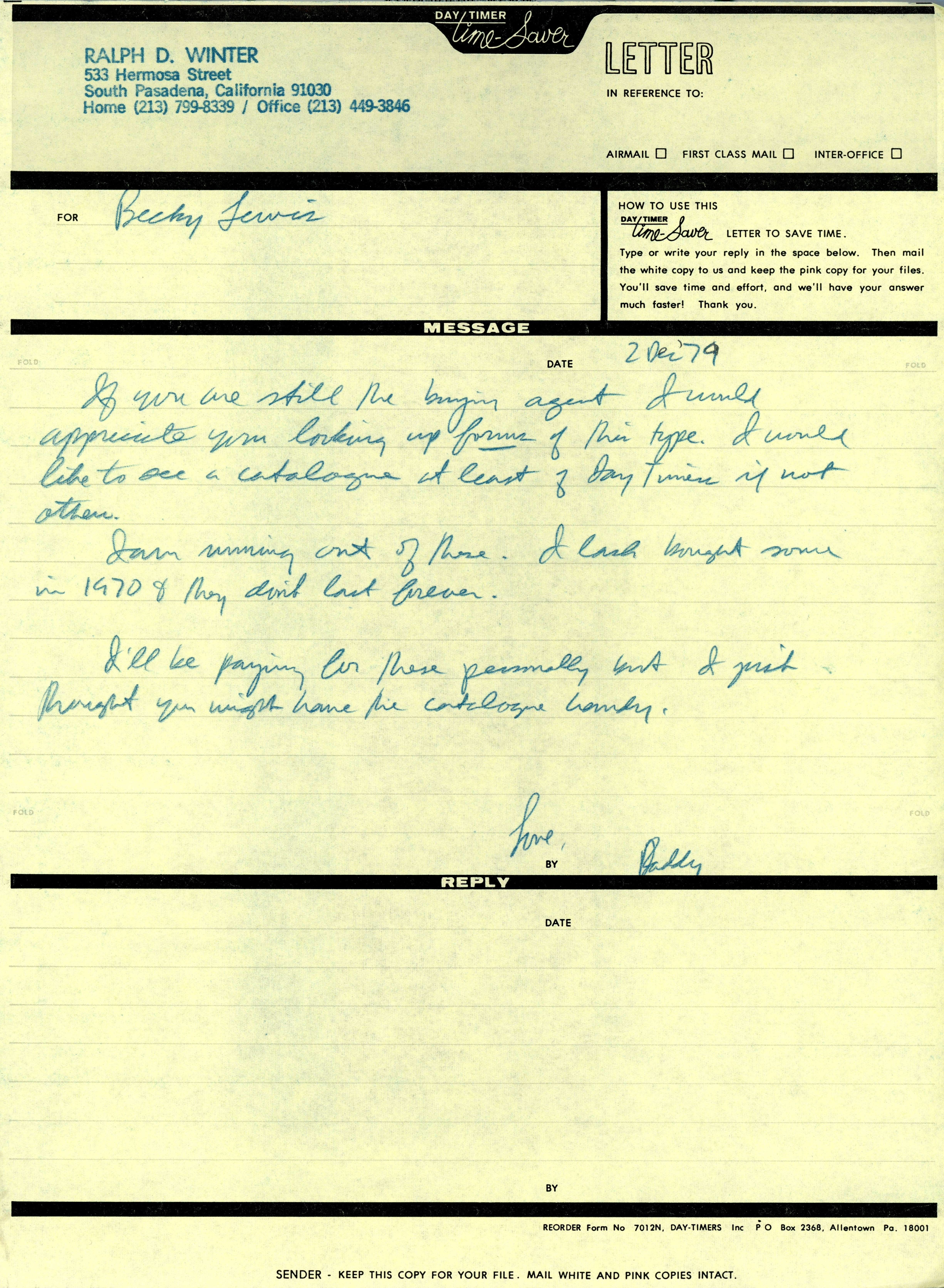 RDW to Becky Lewis Note 12 2 1979