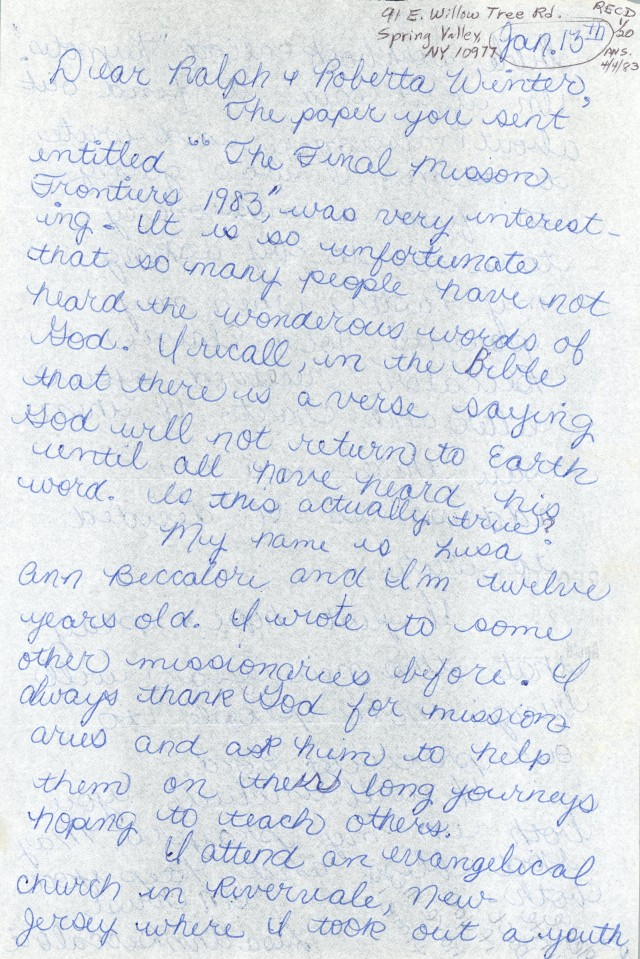 Lisa Ann Beccalori to Winters Letter 1 13 1983 p1