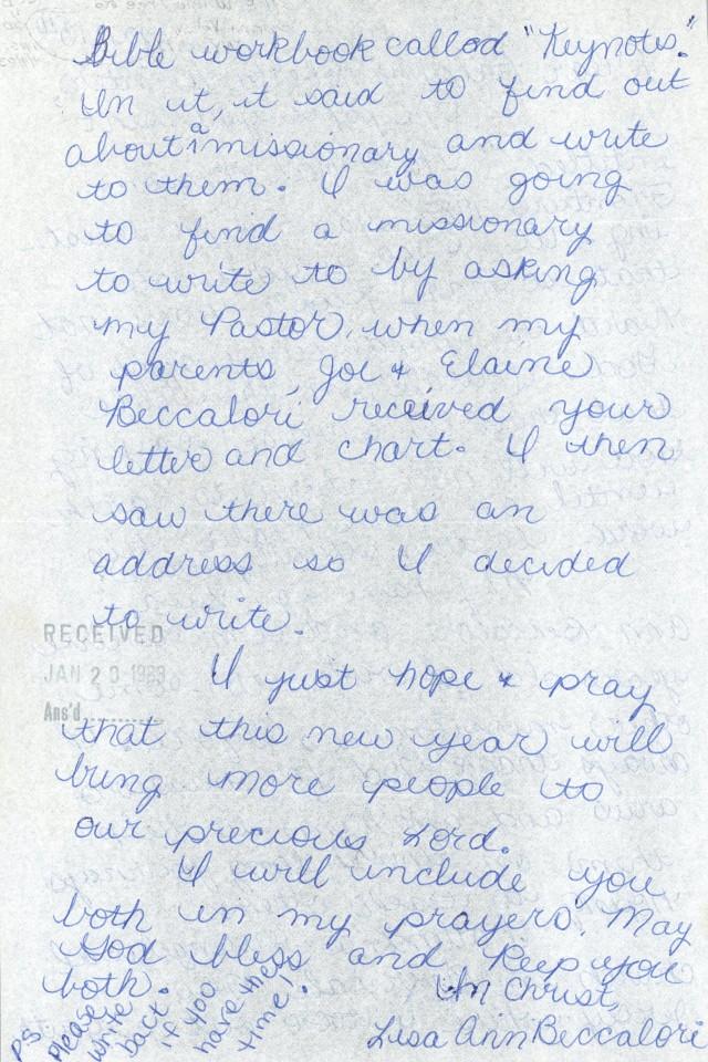 Lisa Ann Beccalori to Winters Letter 1 13 1983 p2