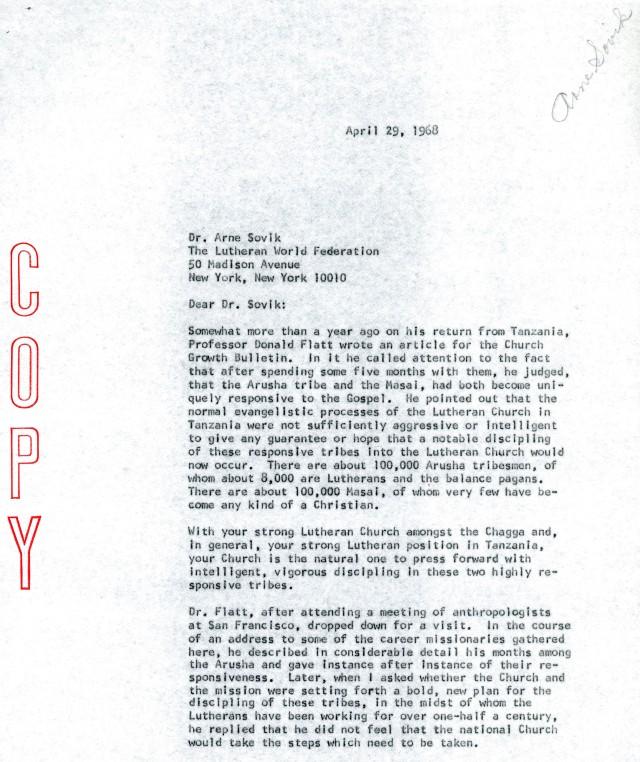 McG to Arne Sovik Letter 4 29 1968 p1