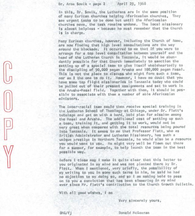 McG to Arne Sovik Letter 4 29 1968 p2