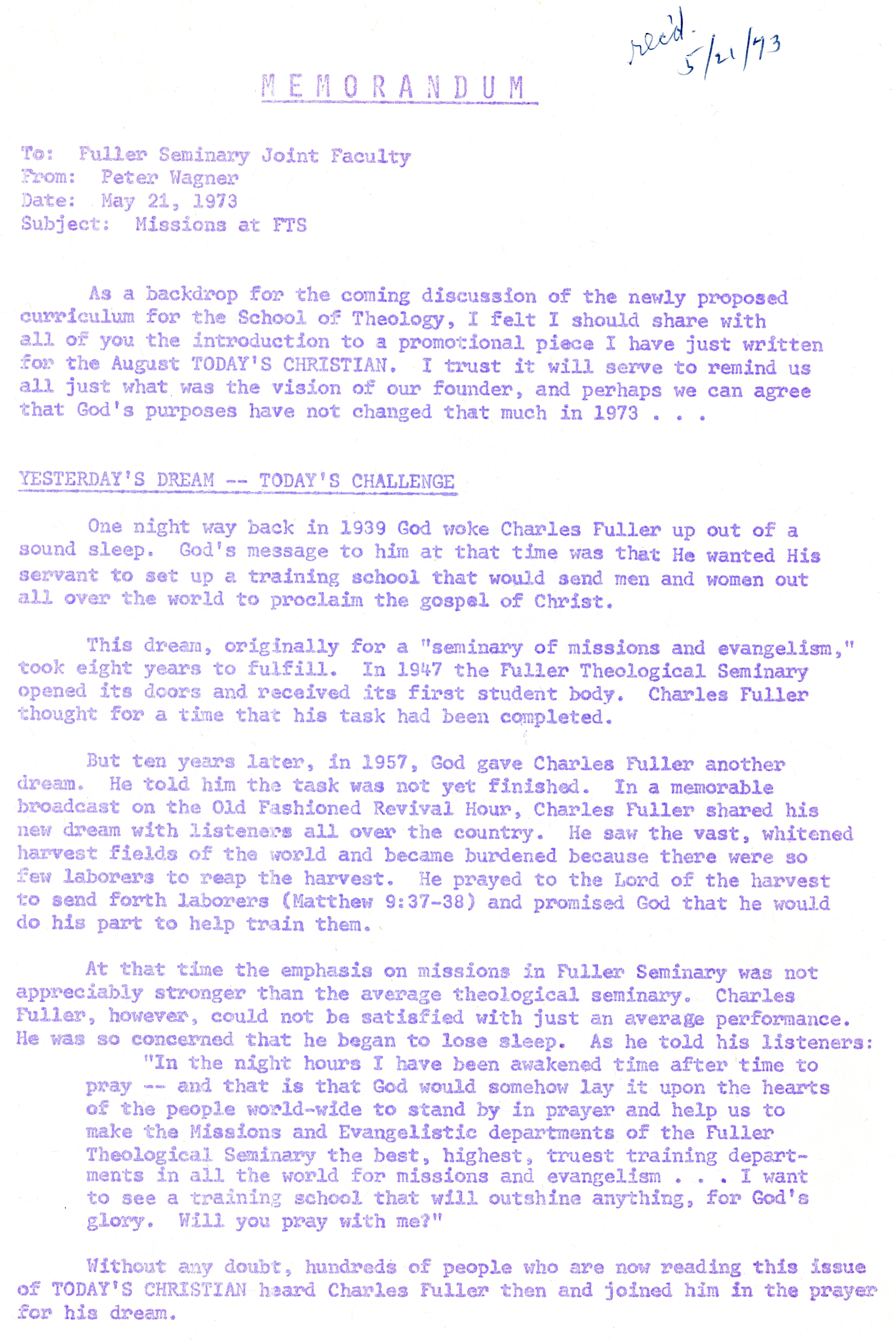 Wagner to Joint Faculty Memo 5 21 1973 p1