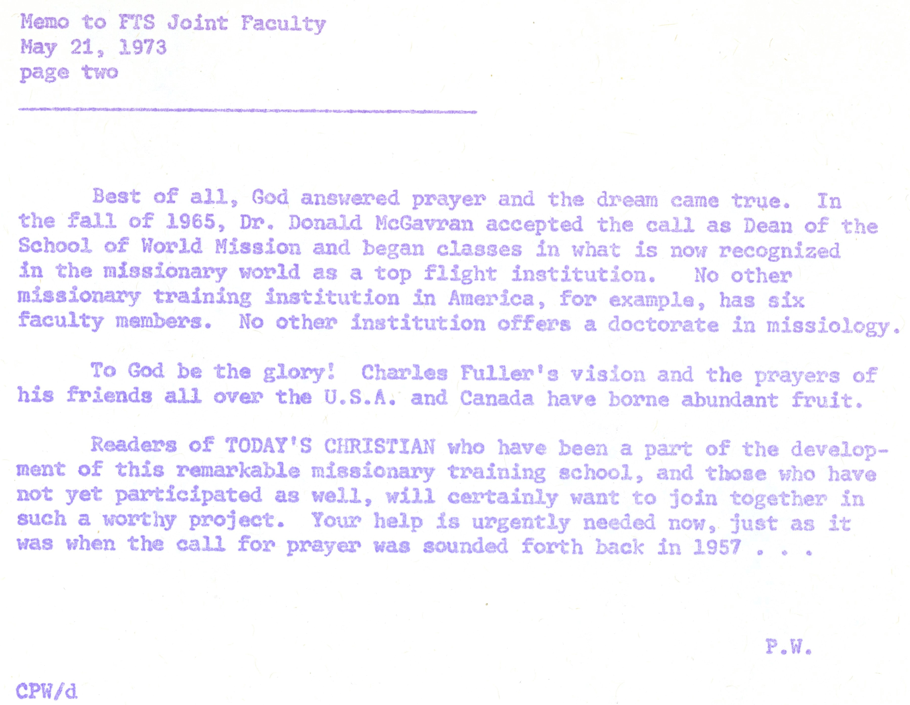 Wagner to Joint Faculty Memo 5 21 1973 p2