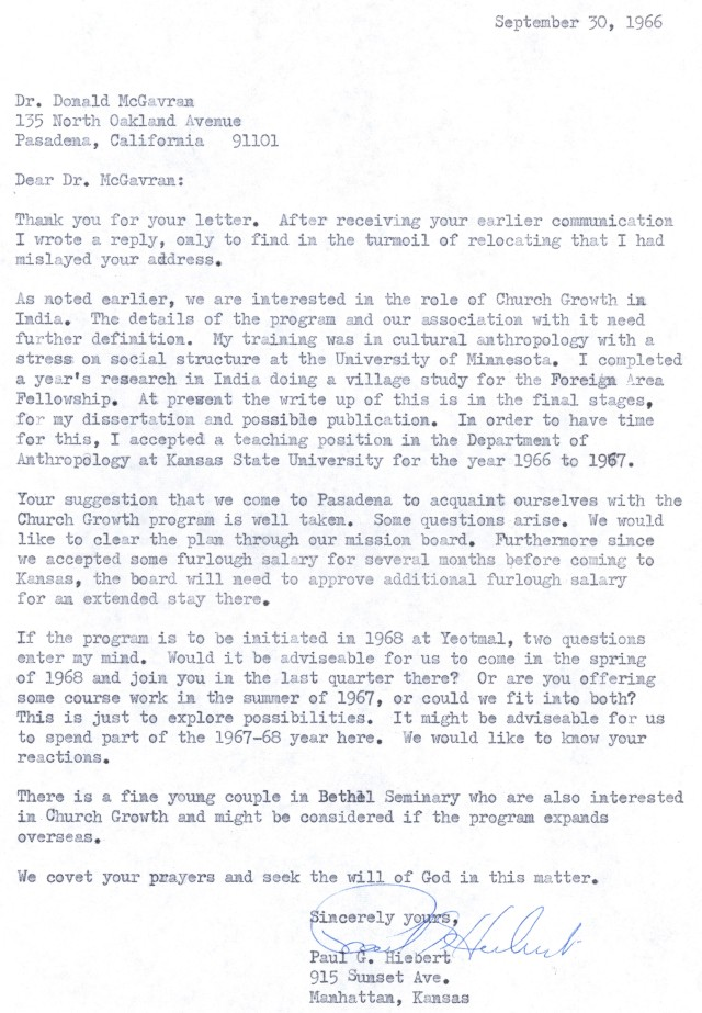 Paul Hiebert to McG Letter 9 30 1966